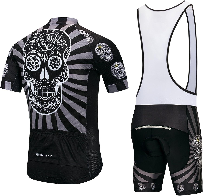 transpirable babero pantalones cortos con acolchado de gel S-5XL Maillot de ciclismo para hombre y ciclismo secado r/ápido