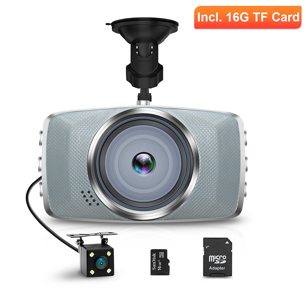 AIMTOM ND-7 Full HD 1080P Car Camcorder, 3 Inch LCD Screen Dashboard Camera, Vehicle Driving Video Recorder, Front and Rear View DVR, Dual Lens Mirror Dash Cam, 16G Micro SD TF Memory Card Included AMN-ND-7SD