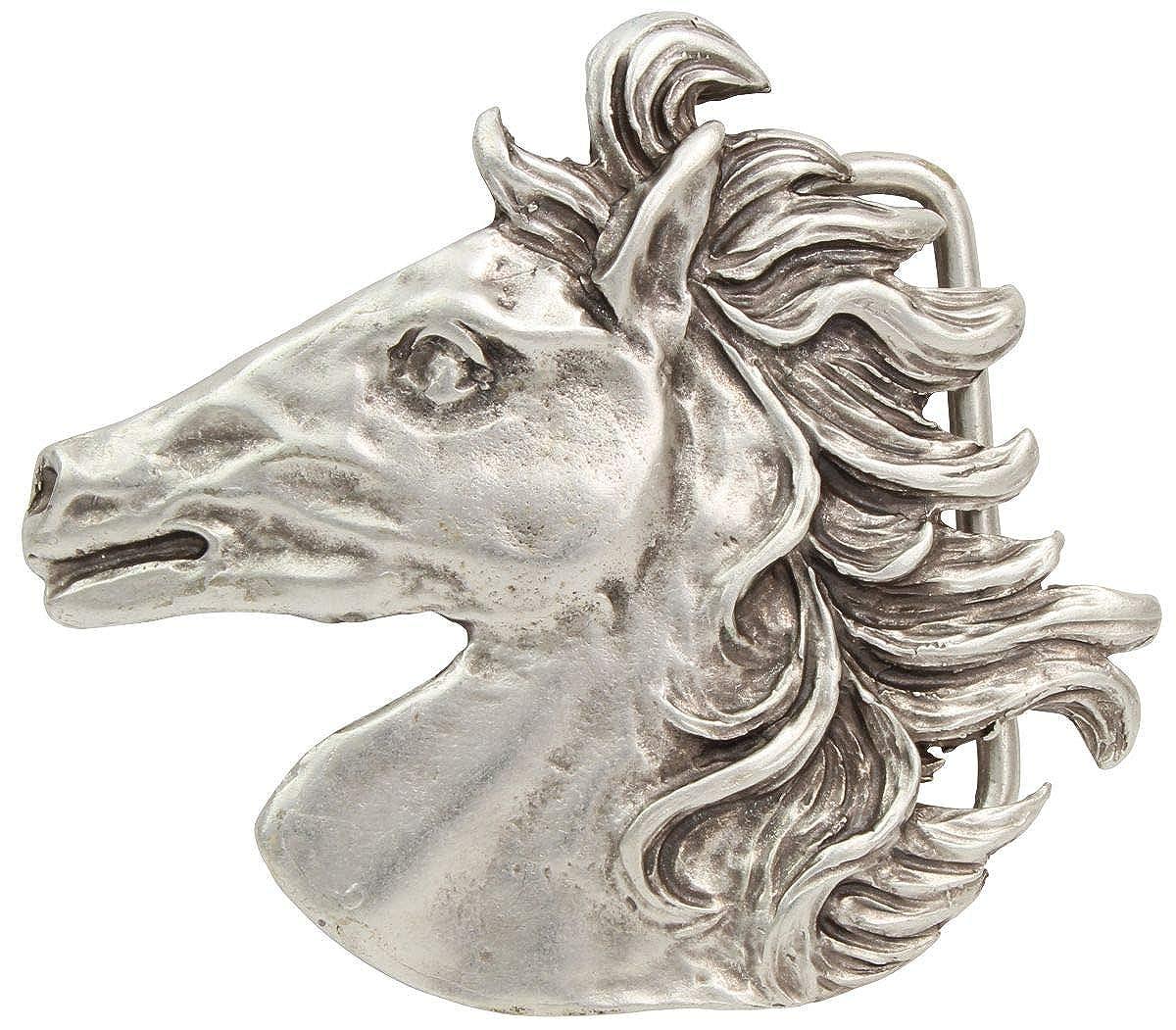 und Western-Outfit Brazil Lederwaren G/ürtelschnalle Pferdekopf 4,0 cm Buckle Wechselschlie/ße G/ürtelschlie/ße Reitaccessoires 40mm Massiv f/ür Reit