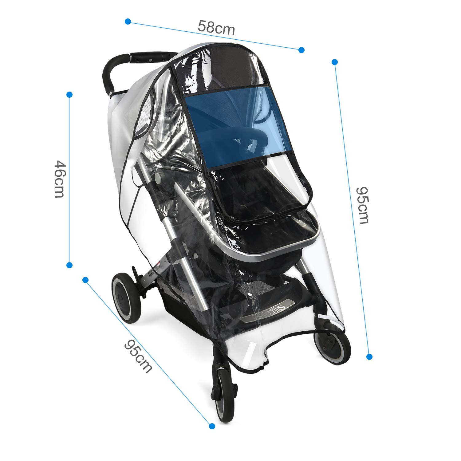 BelleStyle Universal Rain Cover for Pushchair Stroller Buggy Pram Waterproof Windproof Dust Snow Weather Transparent Shield Travel Outdoor Rain Cover with Carrying Bag and Baby Stroller Mosquito Net