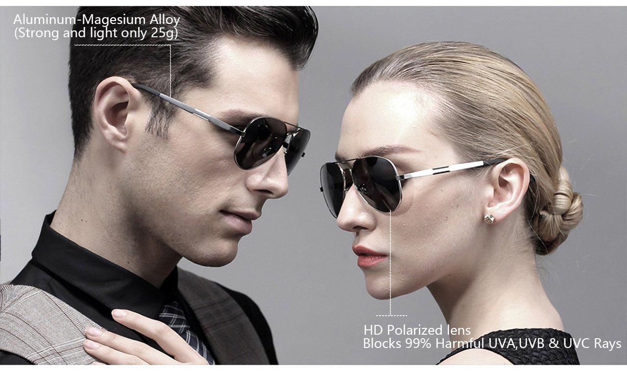 415c76c82b ATTCL Men s Hot Classic Aviator Driving Polarized Sunglasses For Men Women  16695silverred