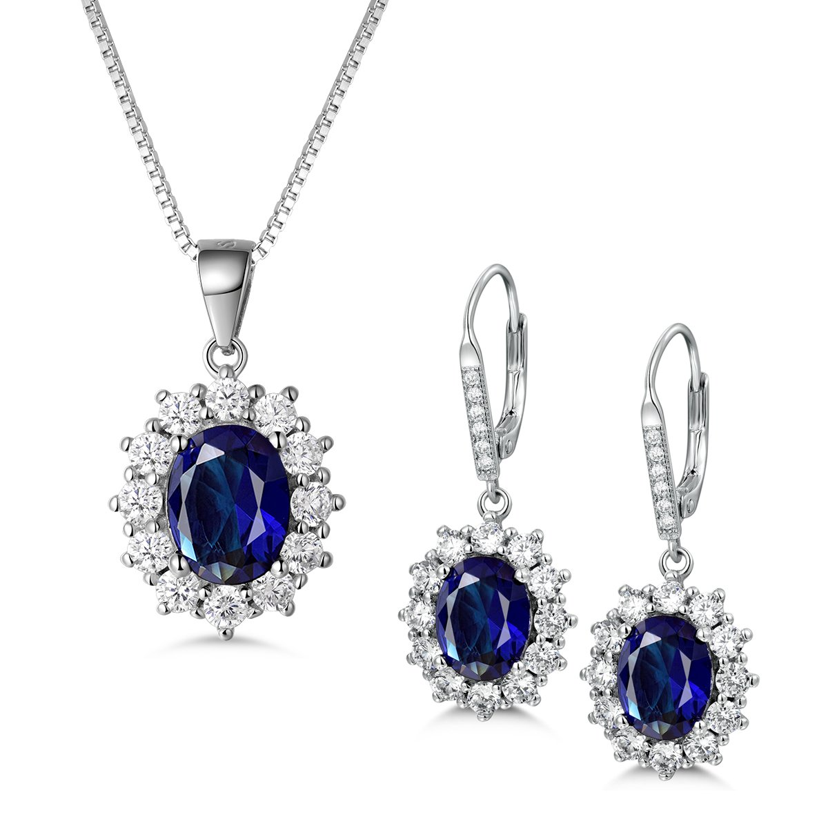 Sterling Silver Cubic Zirconia And Saphire Cubic Zirconia Drop Necklace
