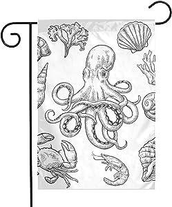 Pooizsdzzz Sea Shell Crab Octopus Festival Garden Flag Front Door Flag Decorative Home Outdoor Flag 1218 Inch