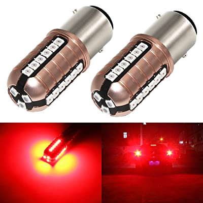 Phinlion 7528 LED Brake Light Bulb Super Bright 3000 Lumens 3030 27-SMD 1157 2057 2357 LED Bulbs for Turn Signal Blinker Tail Stop Lights, Pure Red: Automotive [5Bkhe0911454]