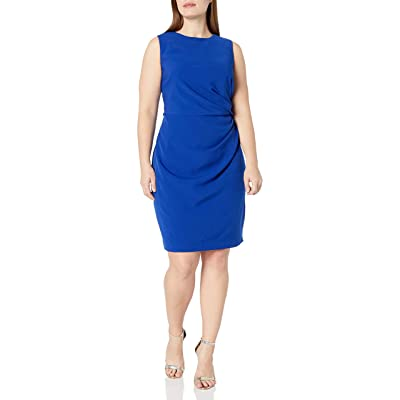 Adrianna Papell Women's Plus Size Womans Tucked Detail Stretch Crepe Sheath at Women's Clothing store