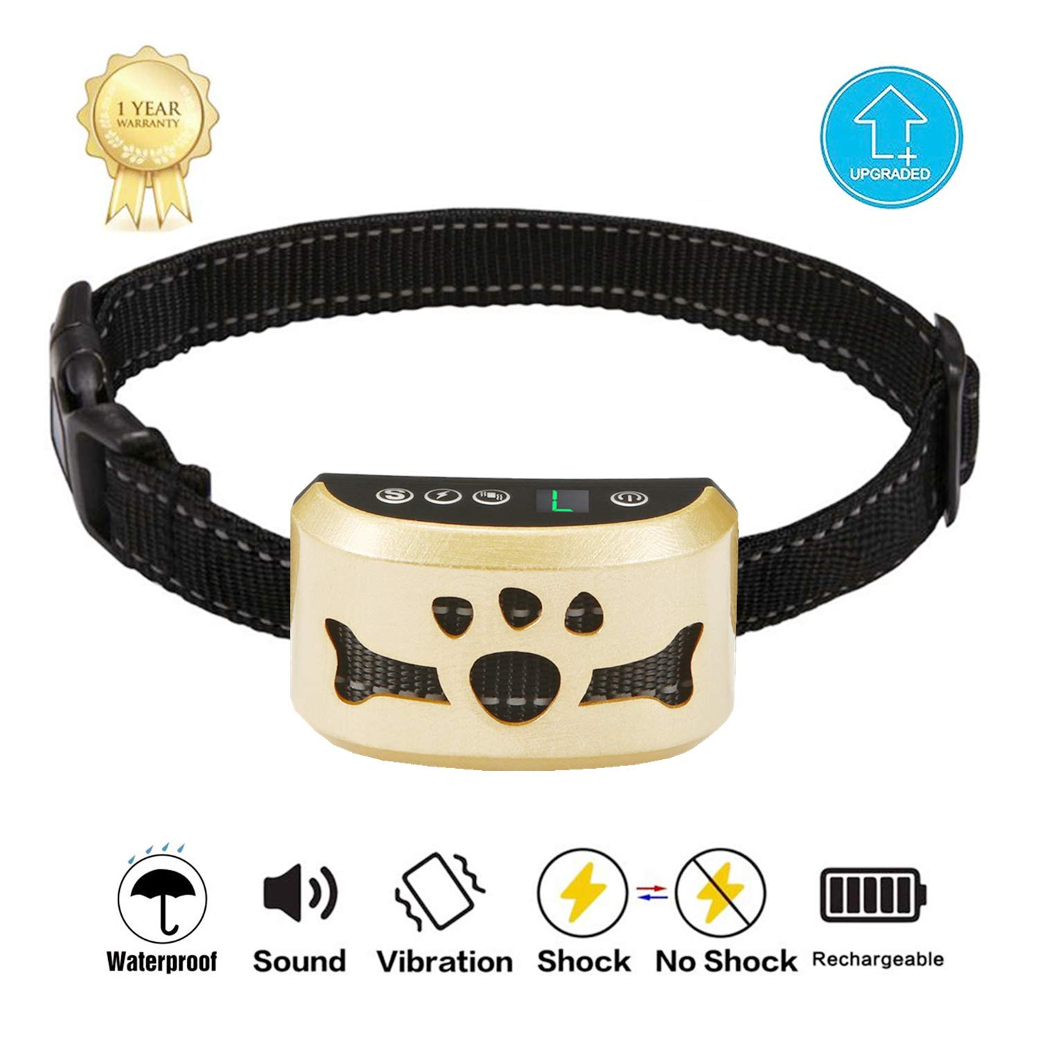 TOTIE Dog Bark Collar -7 Adjustable Sensitivity and Intensity Levels-Dual Anti-Barking Modes Rechargeable/Rainproof/Reflective -No Barking Control Dog Shock Collar for Small Medium Lar (Gold) by TOTIE