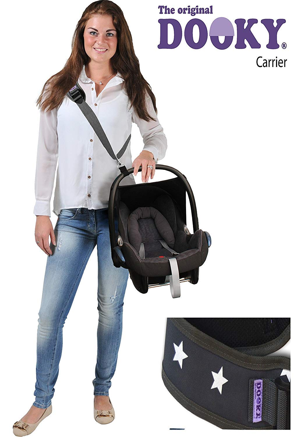 Original DOOKY CARRIER Click n Go ** Der Tragegurt fü r Babyschalen aller Marken ** (GREY/WHITE STARS) The Original Dooky by XPlorys