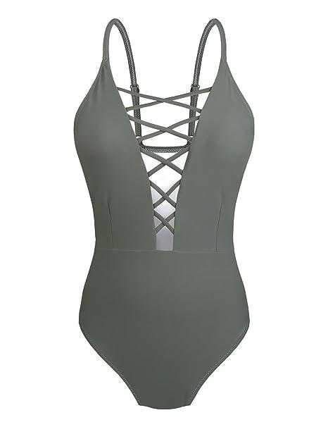 a221d434f4ea Yolev Bañador de Espalda Traje de Baño Bañador de una Pieza Bikinis con  Relleno Push Up para Mujer