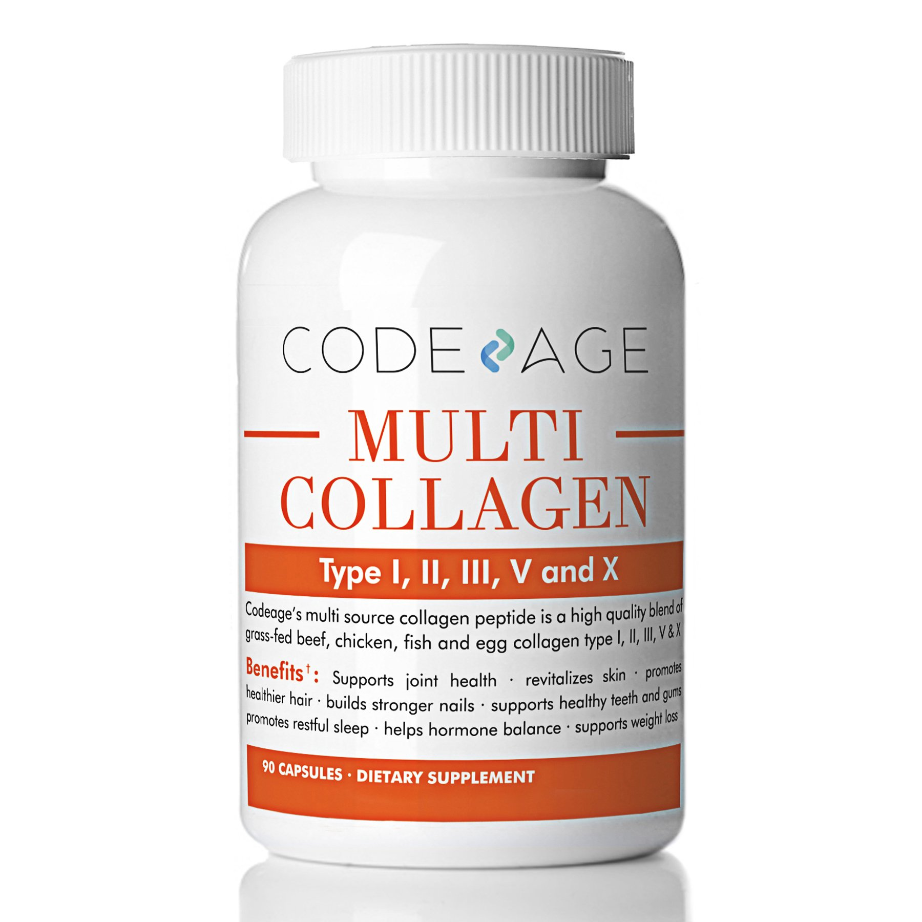 Multi-Collagen Protein Capsules - 90 Count - Type I, II, III, V, X - Grass-Fed - All-In-One Super Bone Broth + Collagen - High Quality Blend of Grass-Fed Beef, Chicken, Wild Fish and Eggshell Collagen