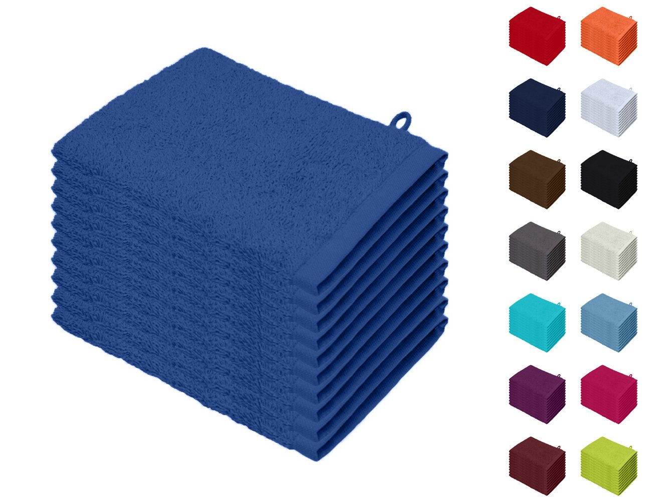 Basatex Juego de 10 Manoplas de ba/ño Waschhandschuhe 15x21 cm 10er Pack tama/ño 15 x 21 cm Azul Real 100/% algod/ón