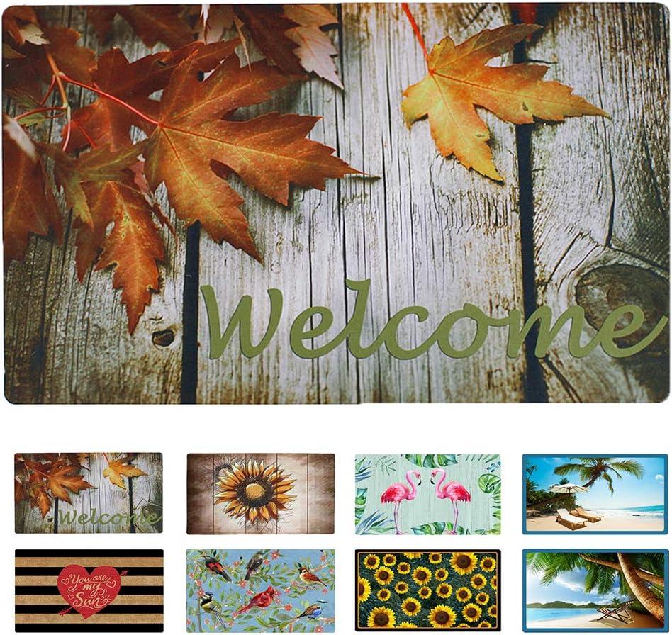 """Welcome Door Mat for Entry Home Patio Garden - Decorative Fall Doormat Rubber Floor Mat Durable Autumn Entrance Rug Indoor Outdoor 29"""" x 17"""" (Maple Leaf)"""