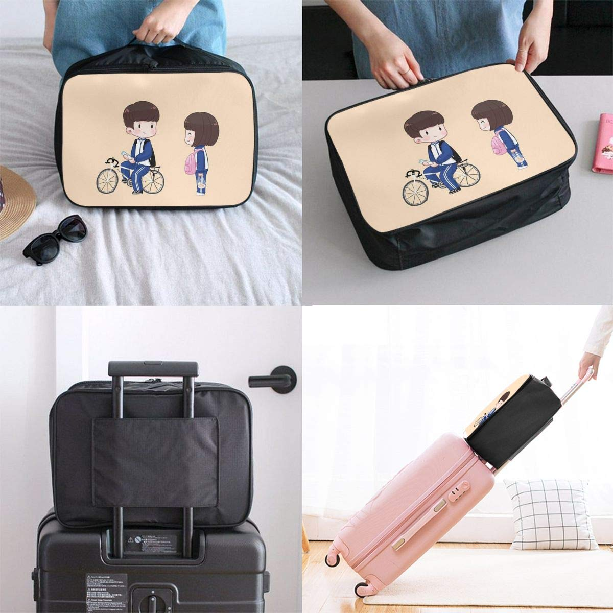 Boy and Girl Canvas Travel Weekender Bag,Fashion Custom Lightweight Large Capacity Portable Luggage Bag,Suitcase Trolley Bag