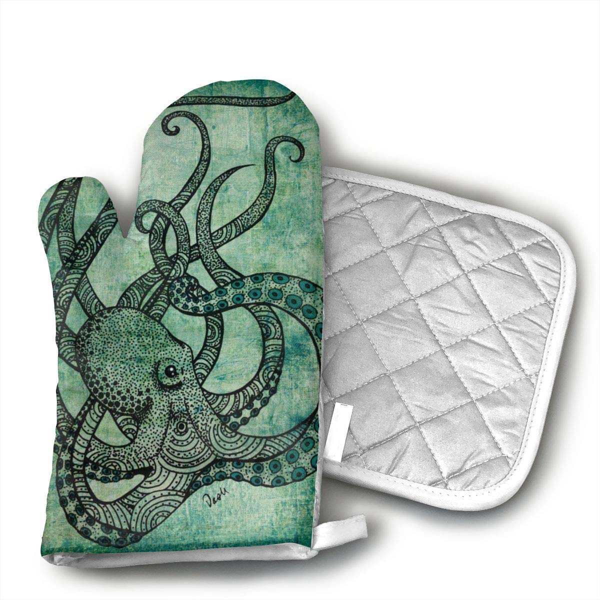 Teuwia Fashion Green Octopus Oven Mitts and Pot Holders Baking Oven Gloves Hot Pads Set Heat Resistant for Finger Hand Wrist Protection