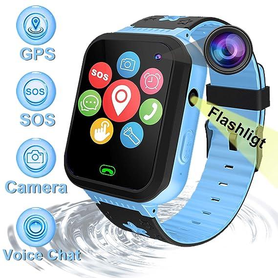 Kids Smartwatch Phone,AMENON IP67 a Prueba de Agua GPS Tracker para Niños Chicos Chicas Gimnasio Rastreador con Ranura para Tarjeta SIM SOS Llame a la ...