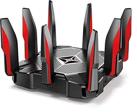 TP-Link AC5400 Tri Band Gaming Router – MU-MIMO, 1 8GHz Quad-Core 64-bit  CPU, Game First Priority, Link Aggregation, 16GB Storage, Airtime Fairness,