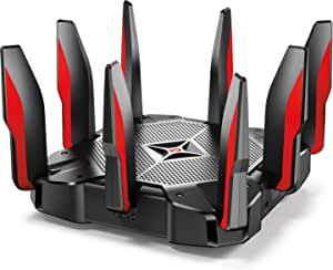 TP-Link AC5400 Tri Band Gaming Router – MU-MIMO, 1.8GHz Quad-Core 64-bit CPU, Game First Priority, Link Aggregation, 16GB Storage, Airtime Fairness, Secured Wifi, Works with Alexa (Archer C5400X)