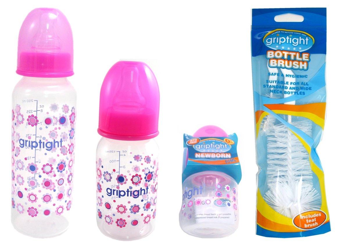 Pink 8 Item Set Standard Neck Baby Bottle Teats And Cleaning Brush Starter Set Griptight