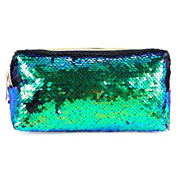 748947bb19 Amazon.com : Mermaid Sequin Cosmetic Bag, Glitter Makeup Bag Zipper Pouch  Handbag DIY Magic Flip Sequin Pencil Holder Case Reversible Color Changing  Bling ...