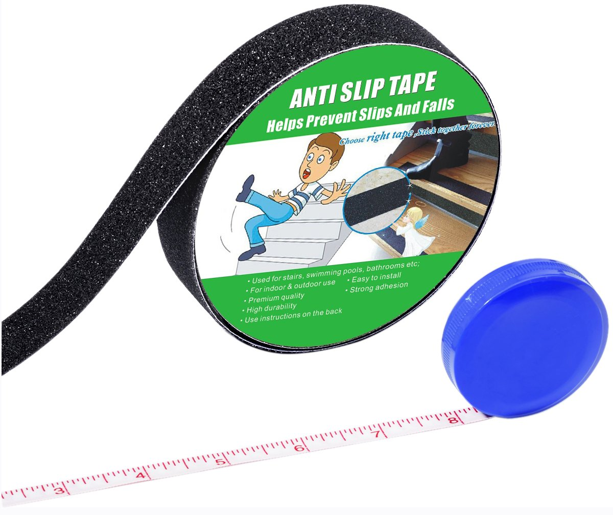 Anti Slip Tape , High Traction,Strong Grip Abrasive , Not Easy Leaving Adhesive Residue , Indoor & Outdoor, with Measuring Tape (1'' Width x 190'' Long, Black)