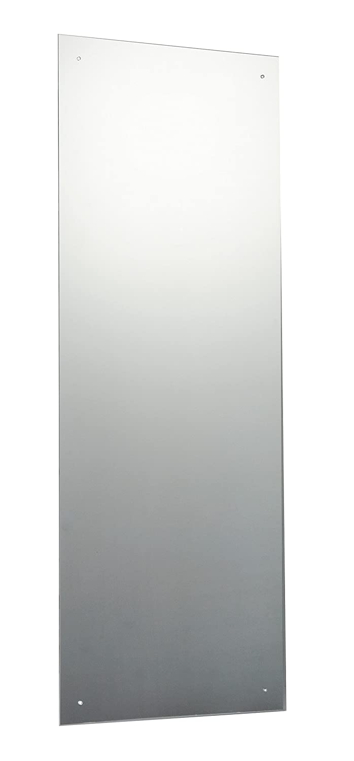 120 x 45cm Rectangle Bathroom Mirror Glass with Pre Drilled Holes & Chrome Cap Wall Hanging Fixing Kit Hardware