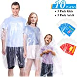 Ginmic Ponchos Family Pack - Rain Ponchos for Kids and Adults, Assorted Colors, Extra Thick 0.03mm, Disposable Emergency Rain