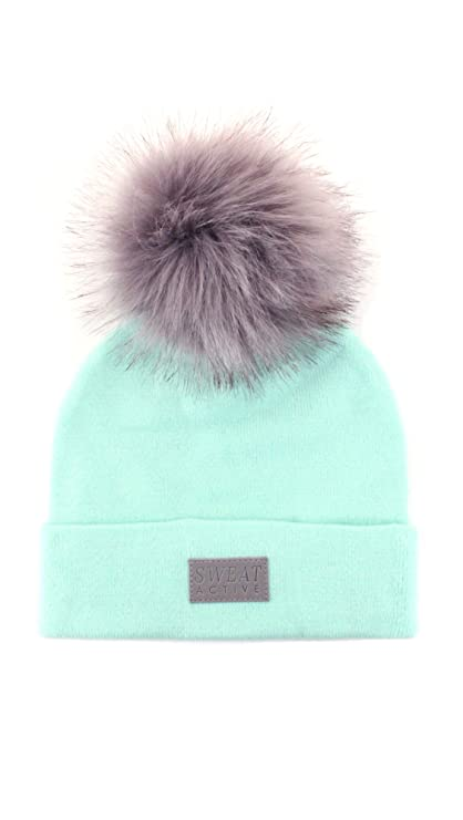 a6a3219abee Sweat Active Cashmere and Fur Pom Pom Beanie Hat (Army Green Grey Pom)   Amazon.co.uk  Clothing