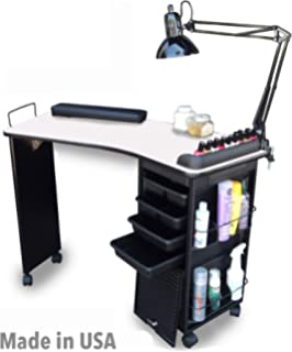 Amazon.com : Manicure Nail Table Workstation Rolling Desk Spa Beauty ...
