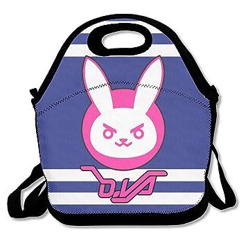 nnhaha Overwatch D. Va conejo Logo bolsa para el almuerzo Tote bolso almuerzo cajas