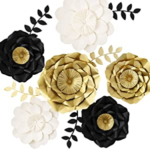 3D Paper Flower Decorations, Giant Paper Flowers, Large Handcrafted Paper Flowers (Gold, Black, White Set of 6) for Wedding Backdrop, Bridal Shower, Graduation Party, New Years Eve Party