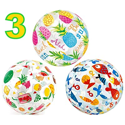 "ALAZCO 3 Beach Ball Large 20"" Inflatable Cute Colorful Design (Fish, Fruit, Tropical, Summer Vacation, Smoothie, Watermelon, Pineapple, Lemon, Popsicle) Vacation Pool Party Beach Fun Games Adult Kids: Sports & Outdoors"