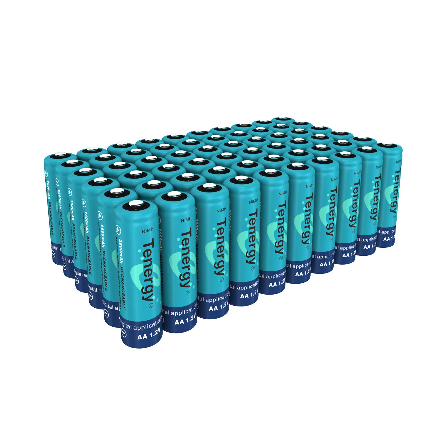 TenergyAA Rechargeable Battery, High Capacity 2600mAhNiMH AA Battery, 1.2VDouble A Batteries60-Pack