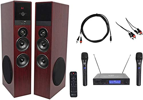 Rockville Bluetooth Home Theater Karaoke Machine System w 2 Subs Wireless Mics