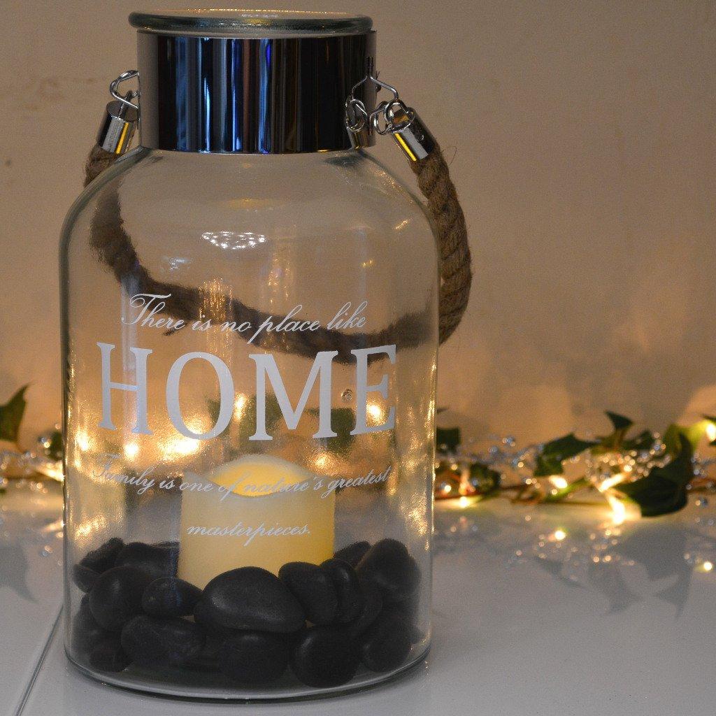 INtrenDU Laterne Windlicht 30cm inkl. LED Kerze groß aus Glas und Edelstahl (3.schwarz) INtrenDU®