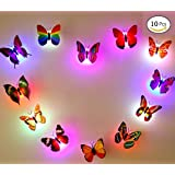 Pink Kites Wall Sticker Home Decoration LED 10 PCS Butterfly Bedside LAMP Pack of 10