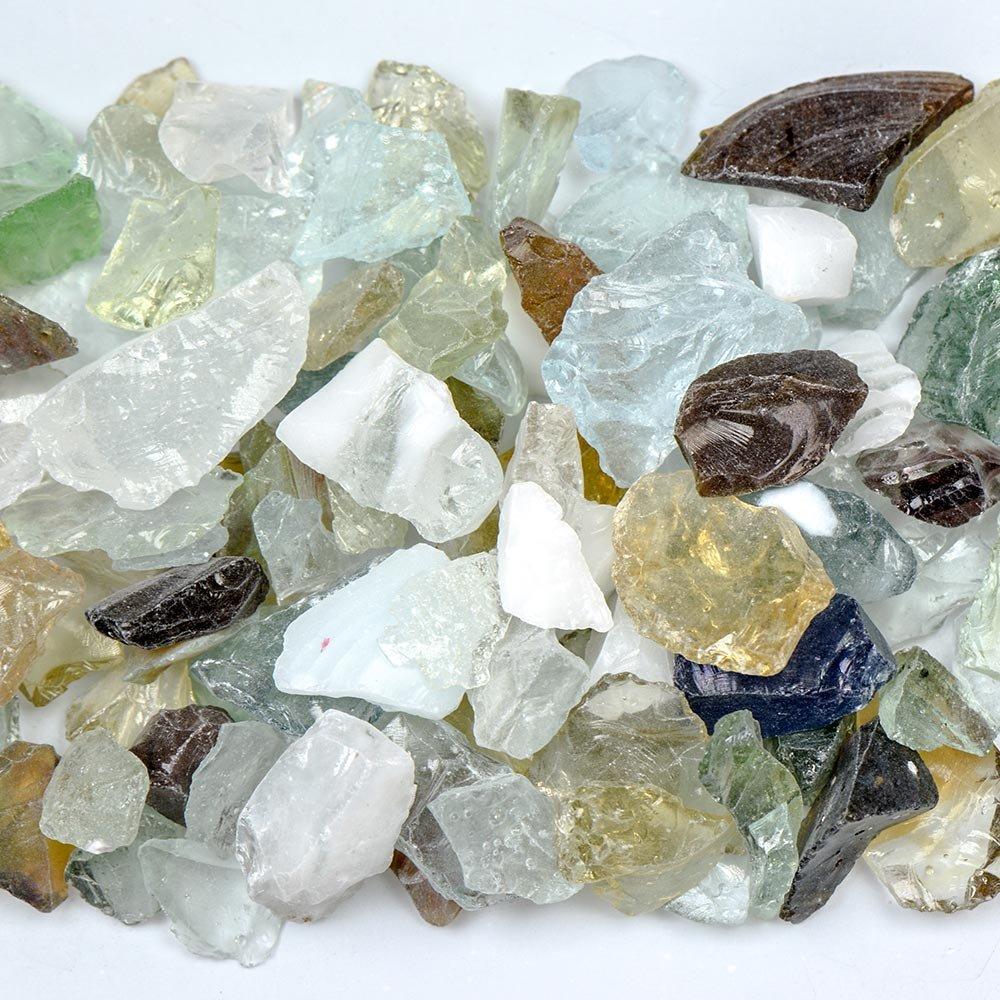 My Fireplace Glass - 10 Pound Fire Glass with Fire Pit Glass - Small, 1/4 - 1/2 Inch, Confetti Mix