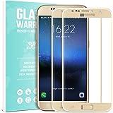 SAVFY Samsung Galaxy S7 Schutzfolie Panzerglasfolie 2 Stück Hartglas 9H, Gold