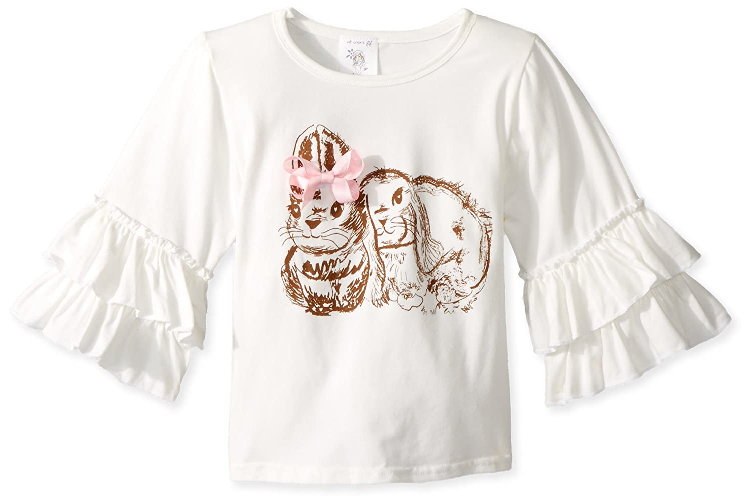 Mi Amore Gigi Girls Cream Ruffle Bunny Graphic Interchangeable Bow Top