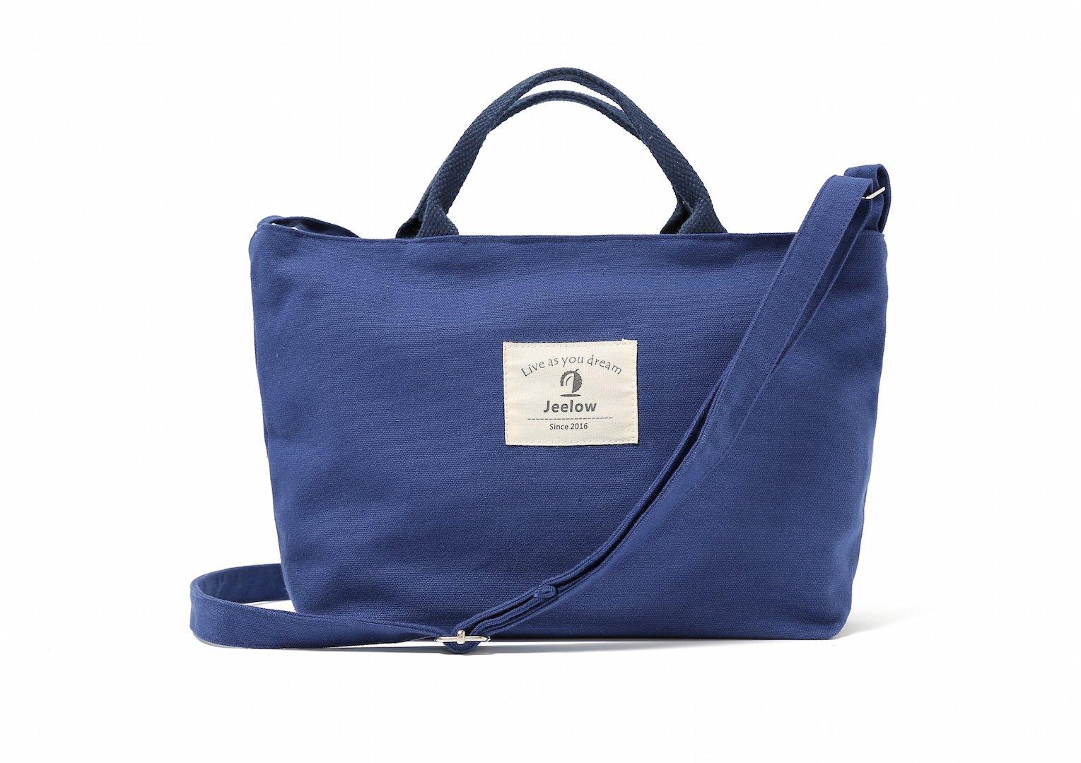Canvas Tote Handbag Shoulder Bag (Small Blue)
