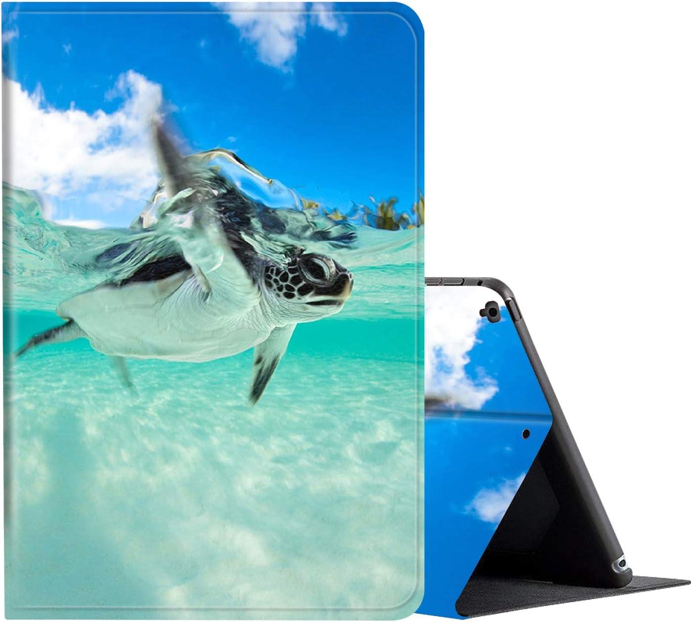 iPad 9.7 Case (2018/2017) 6th/5th Generation ipad Case,Amook Adjustable Non-Slip Folio Stand with Auto Wake/Sleep Smart Cover for Apple iPad 6/5 Gen & ipad air 1/2 9.7 inch-Baby Sea Turtle Swimming