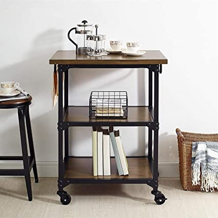 Industrial Oak Kitchen Cart, Rustic Coffee Bar Cart, Kitchen Trolley  Origami Cart, Utility Rolling Serving Carts with 3 Tier Storage Shelves,  Lockable ...