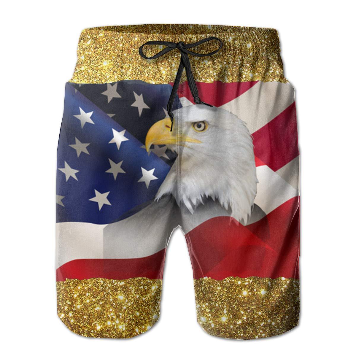 USA Flag with Bald Eagle Mens Swim Trunks Bathing Suit Beach Shorts