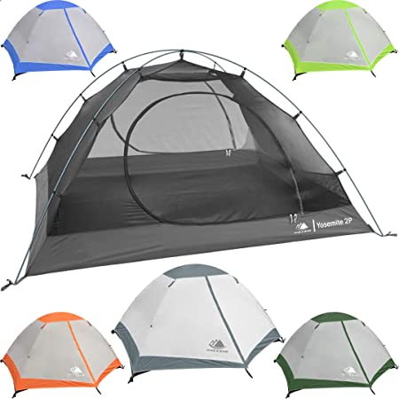 Hyke Byke Yosemite 1 and 2 Person Backpacking Tents with Footprint – Lightweight Two Door Ultralight Dome Camping Tent