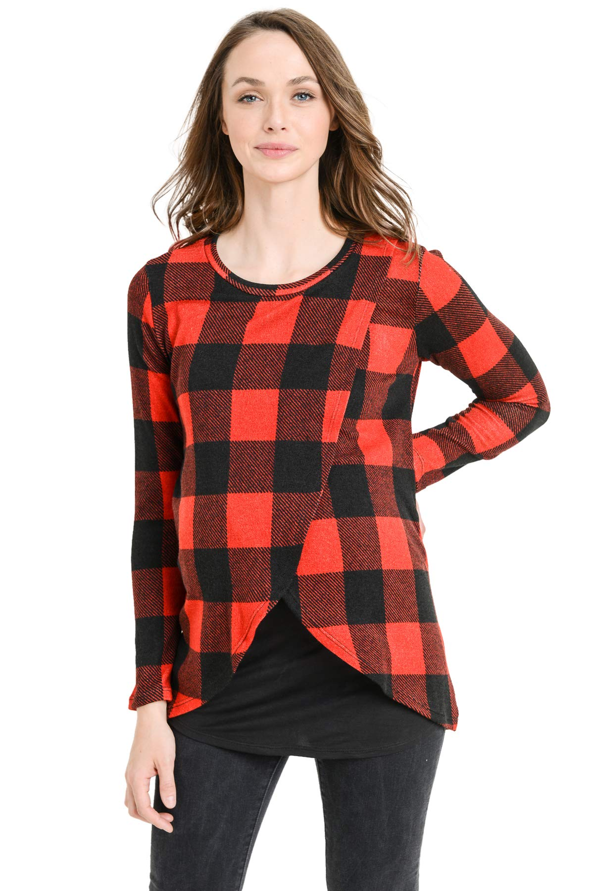 Hello MIZ Women's Maternity Sweater Knit Long Sleeve Overlay Breastfeeding Nursing Top (Red Plaid/Black, L)