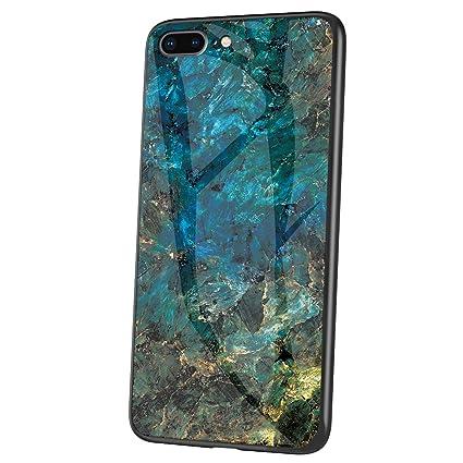 Felfy Kompatibel mit iPhone 8 H/ülle Schwarz,Kompatibel mit iPhone 7 Handyh/ülle Geh/ärtetes Glas Back Case Marmor Muster Schutzh/ülle TPU Silikon /& Glas Hart Case Kratzfest Tasche Cover