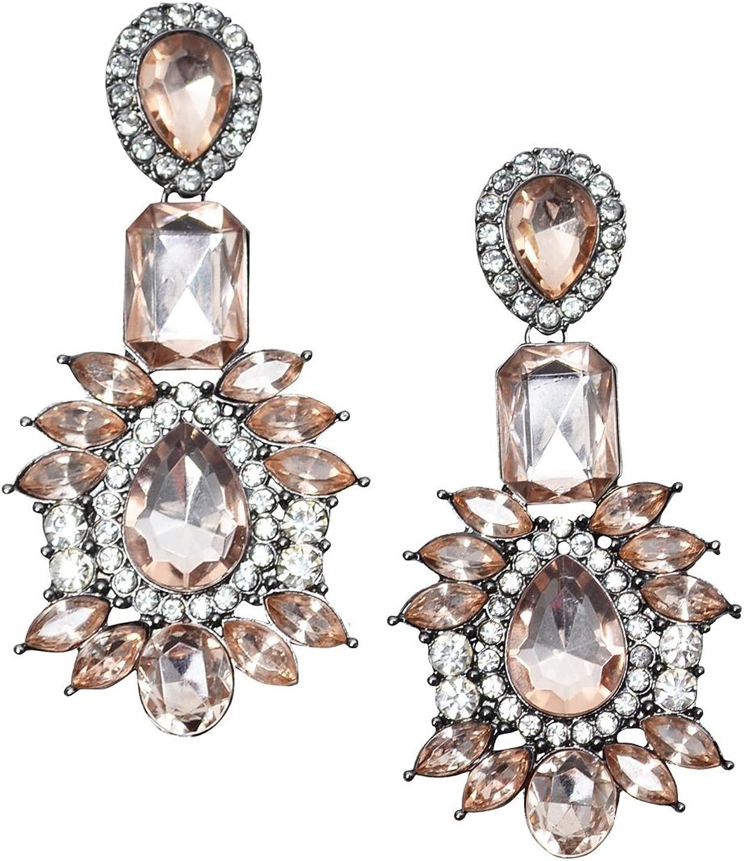 Happiness Boutique Damas Pendientes Llamativos Vintage en Rosa | Pendientes Grandes con Diamantes de Imitación Libres de Níquel