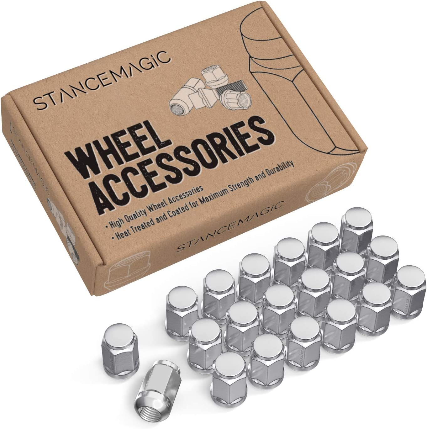 for many Honda Acura vehicles Metric 12x1.5 Threads 1.4 Length Ball Radius Seat Closed End Installs with 19mm or 3//4 Hex Socket 20pc Silver//Chrome Bulge Lug Nuts