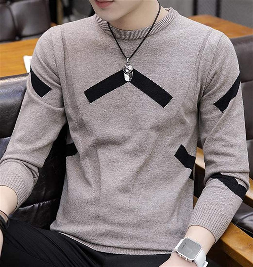 Sayhi Men Pullover Knit Color Block Long Sleeve Casual Jumper Sweater