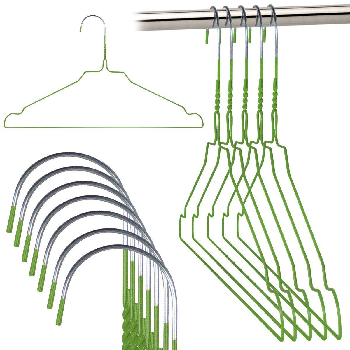 Amazon.de: 20 Drahtkleiderbügel verzinkt mit grüner ...
