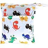Damero Cute Travel Baby Wet and Dry Cloth Diaper Organizer Bag (Medium, Cute Dinosaurs)