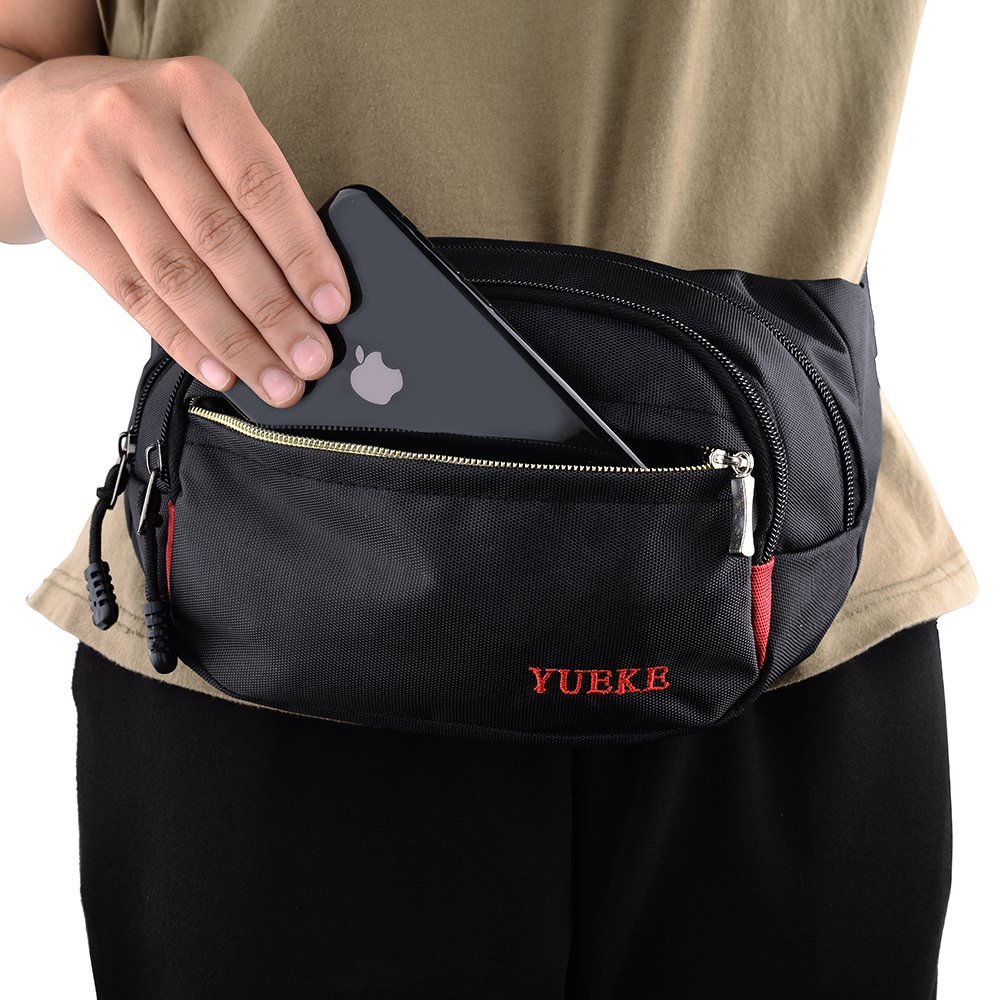 Teammao Waist Bag Multi-fonction Fanny Pack Belt Bag Travel Fanny Waist Pack Daypack with Headphone Pinhole for Running Hiking Cycling Camping Hunting Exercise. (black) by Teammao (Image #3)